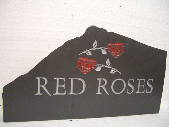 custom standing house sign with red roses