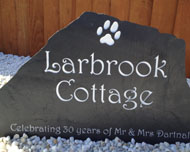 freestanding sign using rock slate