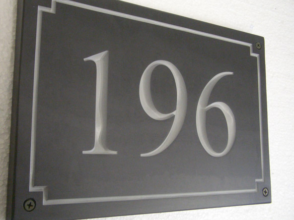 slate plaque with house numbers