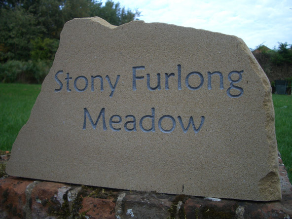 york stone sign with deep silver engrave